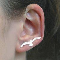 Swallow Sterling Silver Bird Ear Cuff Earrings, Silver