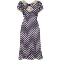 1940s Style Day Dress In Navy Fan Print Crepe
