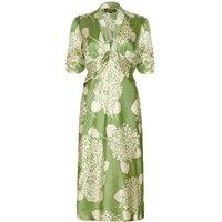1940s Style Midi Dress In Green Hydrangea Silk Satin