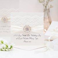 Opulence Vintage Cluster Wedding Card, Ivory/Burgundy/Red
