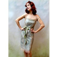 Lace Occasion Dress With Forties Neckline In Platinum
