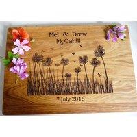 Wild Flowers Personalised Oak Chopping Board