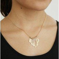 Hammered Gold Fringe Necklace, Gold