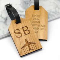 Personalised Wooden Initial Luggage Tag, Black/Rose Gold/Rose