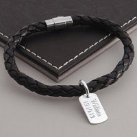 Men's Personalised Silver Dog Tag Leather Bracelet, Silver