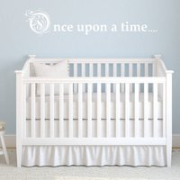 'Once Upon A Time' Fairy Tale Nursery Wall Sticker, White/Black/Grey
