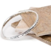 Dance And Sing Silver Plated Message Bangle, Silver