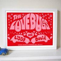 Personalised 'Lovebugs' Wedding Or Anniversary Print, Red/Dark Blue/Blue