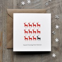 Reindeer Silhouette Personalised Christmas Cards