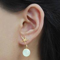 Aqua Chalcedony Gold Ocean Starfish Earring Jackets, Gold