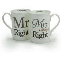 Personalised Mr Right and Mrs Always Right Mug Gift Set - Mug Gifts