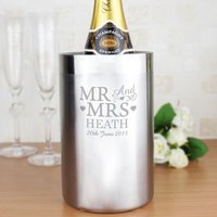 Personalised Stainless Steel Wine Cooler - Mr & Mrs - Alcohol Gifts