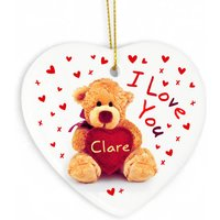 Personalised Teddy Heart Decoration