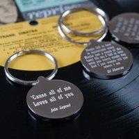 Personalised Favourite Lyric Keyring - Anniversary Gifts