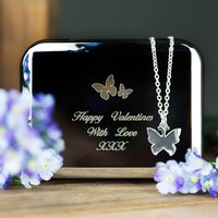 Personalised Box With Butterfly Necklace - Butterfly Gifts