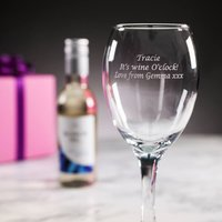 Personalised White Wine Glass with Mini Bottle of White Wine - Alcohol Gifts