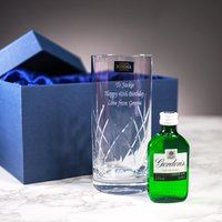 Personalised Crystal Glass and Gin Gift Set - Prezzybox Gifts