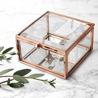 Personalised Rose Gold Glass Trinket Box - Prezzybox Gifts