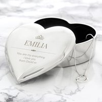 Personalised Crown Heart Trinket Box and Necklace Set