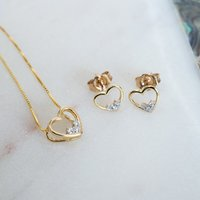 Personalised Gold Diamond Heart Necklace and Earring Set