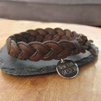 Personalised Plaited Leather Bracelet - Prezzybox Gifts
