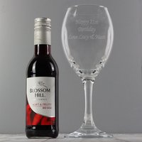Personalised Red Wine Glass with Mini Bottle of Red Wine - Alcohol Gifts