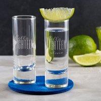 Personalised Hello Eighteen Birthday Shot Glass - Glass Gifts