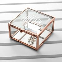 Personalised Hello Eighteen Birthday Square Rose Gold Glass Trinket Box - Glass Gifts