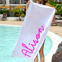 Personalised Pink Name Beach Towel - Beach Gifts