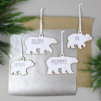Personalised Polar Bear Wooden Decorations - Set of Four - Decorations Gifts