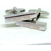 Personalised Deco Script Bar Cufflinks - Personalised Gifts