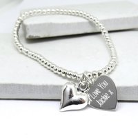 Personalised Silver Beaded Heart Bracelet - Personalised Gifts Gifts