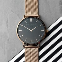 Personalised Rose Gold Mesh Strapped Watch - Black Dial - Personalised Gifts