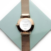 Personalised Rose Gold Mesh Strapped Watch - White Dial - Personalised Gifts