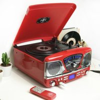 Steepletone 1960's Roxy 4 BT Retro Music System - Red - Music Gifts