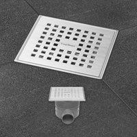 EASYDRAIN AQUA PLUS QUATTRO vloerput 15 x 15 cm. horizontaal RVS GEBORSTELD (AQUAPLUS15X15MSI)