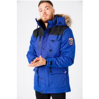 Coats / Jackets Haakon Colour Block Utility Parka Coat with Faux Fur Lined Hood in Sodalite Blue - Tokyo Laundry / M - Tokyo Laundry