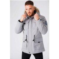 Coats / Jackets Hjalmar Utility Parka Coat with Fleece Lined Faux Fur Trim Hood in Light Griffin Grey - Tokyo Laundry / XL - Tokyo Laundry