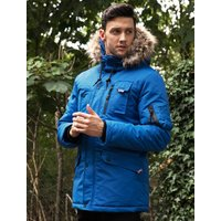 Coats / Jackets Nicklas Utility Parka Coat with Faux Fur Lined Hood in Olympian Blue - Tokyo Laundry / S - Tokyo Laundry