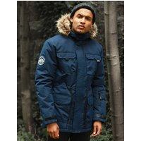 Coats / Jackets Hjalmar Utility Parka Coat with Fleece Lined Faux Fur Trim Hood in Navy - Tokyo Laundry / L - Tokyo Laundry