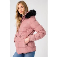 Coats / Jackets Jasmin Quilted Puffer Jacket With Faux Fur Trim Hood In Nostalgia Rose - Tokyo Laundry / 10 - Tokyo Laundry