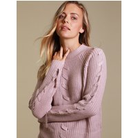 Jumpers Jade Fisherman Knit Jumper with Lace Up Detail in Nude Pink - Tokyo Laundry / 16/XL - Tokyo Laundry