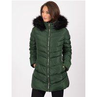 Coats / Jackets Lotus Longline Quilted Puffer Coat with Faux Fur Trim Hood in Dark Green - Tokyo Laundry / 8 - Tokyo Laundry