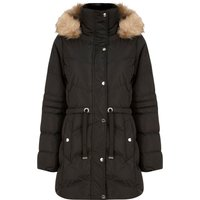 Coats / Jackets Bingo Longline Quilted Puffer Coat with Faux Fur Trim Hood in Black - Tokyo Laundry / 14 - Tokyo Laundry