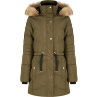 Coats / Jackets Bingo Longline Quilted Puffer Coat with Faux Fur Trim Hood in Khaki - Tokyo Laundry / 14 - Tokyo Laundry