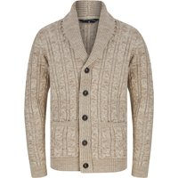 Jumpers Manji Cable Knitted Wool Blend Cardigan with Shawl Collar In Natural Twist - Tokyo Laundry / XXL - Tokyo Laundry
