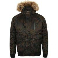 Coats / Jackets Marius Camo Print Bomber Jacket with Fur Lined Hood in Khaki - Dissident / L - Tokyo Laundry