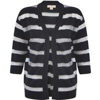 Cardigans Plum Tree Taylor navy sheer striped cardigan / 14 - Tokyo Laundry