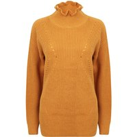 Jumpers Sasha Ruffle Neck Pointelle Knit Jumper in Dark Gold - Tokyo Laundry / 14/L - Tokyo Laundry