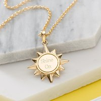 Engraved Gold Plated Sunshine Necklace